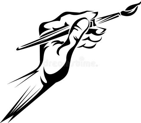 Hand holding a paint brush stock vector