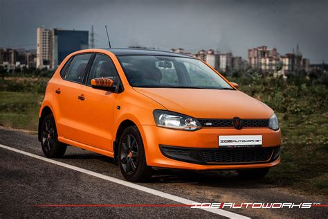 VW Polo Matte Orange Wrap with Gloss Black Roof | IDE